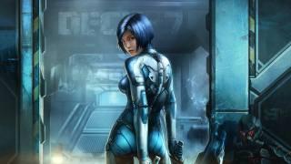 modrá, cyberpunk, cyborg, dívka