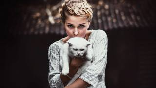 girl, portrait, white, cat