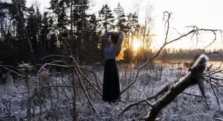 girl, long hair, winter, photographer, pavel Protsenko