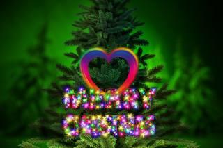 holiday, the inscription, heart, graphics, New year, Christmas, tree, digital art