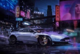 cyberpunk, vehicle, Aston Martin, HIHITACHI