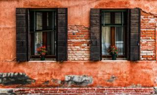 okno, dům, květiny, budova