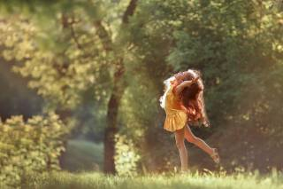child, girl, red, ginger, dress, nature, summer, morning, dance