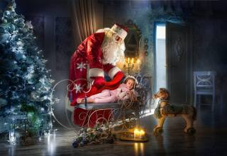 night, bathroom, holiday, Toys, New year, candles, bear, tree, child, horse, Santa Claus, Dmitry Usanin