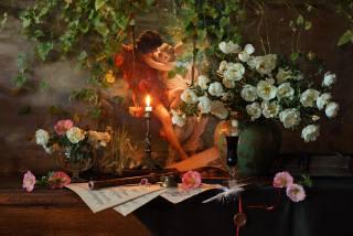 květiny, poznámky, pero, víno, Sklenice na víno, růže, Svíčka, obraz, váza, дудка, zátiší, печать, popínavé rostliny, Andrey Morozov, Андрей Морозов