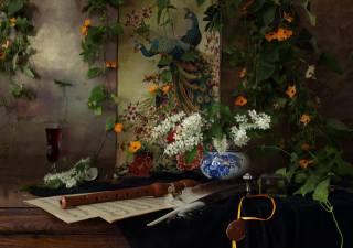 květiny, větvičky, poznámky, pero, víno, Sklenice na víno, zátiší, дудка, zátiší, pávy, liana, панно, черемуха, Andrey Morozov, Андрей Морозов