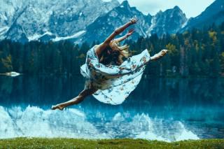 girl, nature, flight