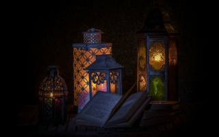 book, lamp, darkness, still life