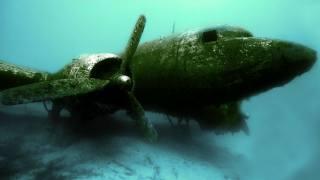 moře, dno, letadlo