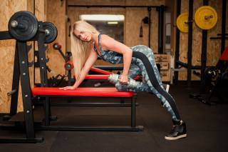 fitness, blonde, pose, training, the gym, dumbbells, girl, sports
