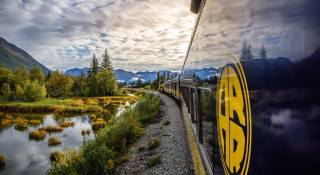 mountains, forest, train