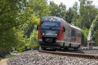 the locomotive, rails, nature, view