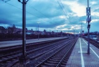 road, iron, station, rails, twilight