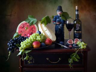 fruit, berries, grapes, bunches, peaches, plum, watermelon, melon, figs, bottle, wine, Glass, figure, кавказец