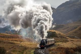 mountains, railway, train, smoke