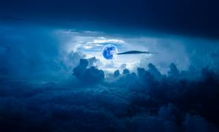night, the moon, clouds