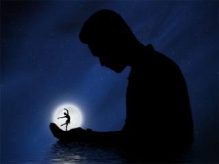 noc, měsíc, muž, dlaň, baletka, silueta