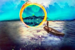 people, boat, clouds, portal, mountains, phantasmagoria
