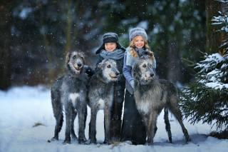 дети, зима, снег