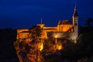 Francie, hrad, noc, utes, skála