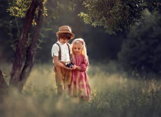 дети, мальчик, девочка, природа, лето, фотоаппарат