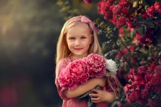 summer, flowers, nature, Bush, rose, bouquet, girl, child, Peonies