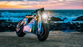 Electric, motorcycle, sea, shore, sunset, nature