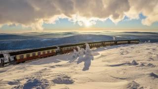 train, cars, winter, snow, horizon