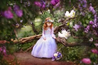 девочка, ребёнок, платье, венок, корзинка, природа, весна, цветение, коряга, сирень, птицы, голуби