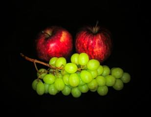 apples, grapes, background