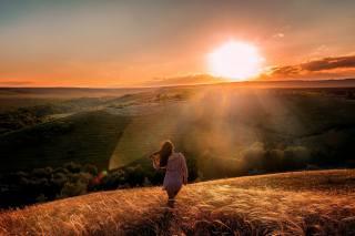 girl, the sun, summer, nature