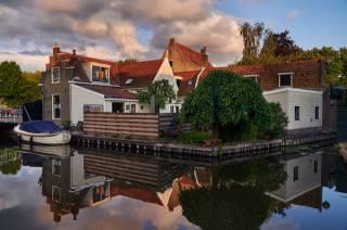 nizozemsko, doma, voda, lodě, Edam, odraz