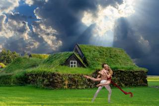 the sky, cottage, dance, photo montage