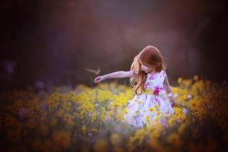 ребёнок, девочка, цветы