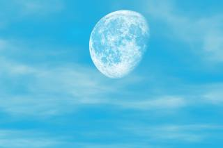 the moon, the sky, clouds, blue sky