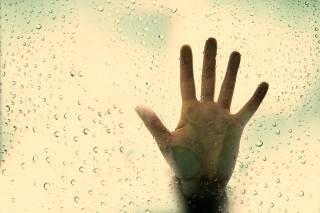 hand, glass, the rain