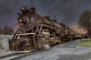 parní lokomotiva, vlak, vozy