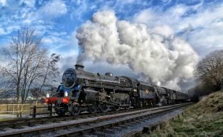 паровоз, поезд, вагоны, дым