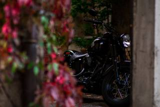 motorcycle, The wheel, black