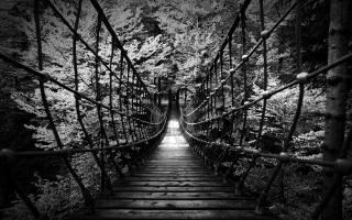 Suspension bridge, black and white background