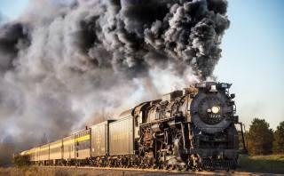 поезд, вагоны, паровоз, дым