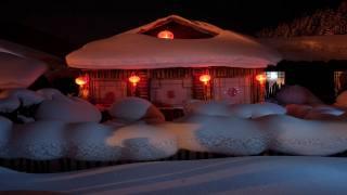 sníh, dům