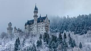 hrad, les, sníh, zima, architektura