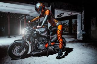 motorcycle, girl, helmet, Honda