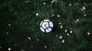 míč, listy, trávník