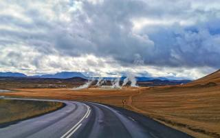 Iceland, road, smoke, clouds, autumn