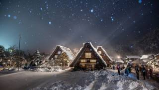зима, світло, сніг, дерева, краєвид, природа, люди, село, Сиракава-го, вдома, вечір, Японія, освітлення, тіні, туристи