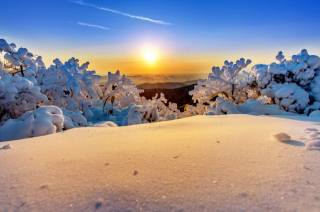 зима, небо, сонце, сніг, дерева, краєвид, гори, природа, світанок, ранок, Національний парк, Південна Корея, заповідник, Deogyusan, Тогюсан