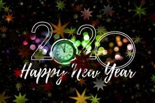 Новый год, часы, 2020, звездочки