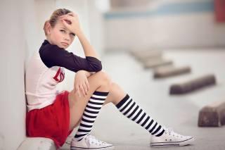 girl, socks, sneakers